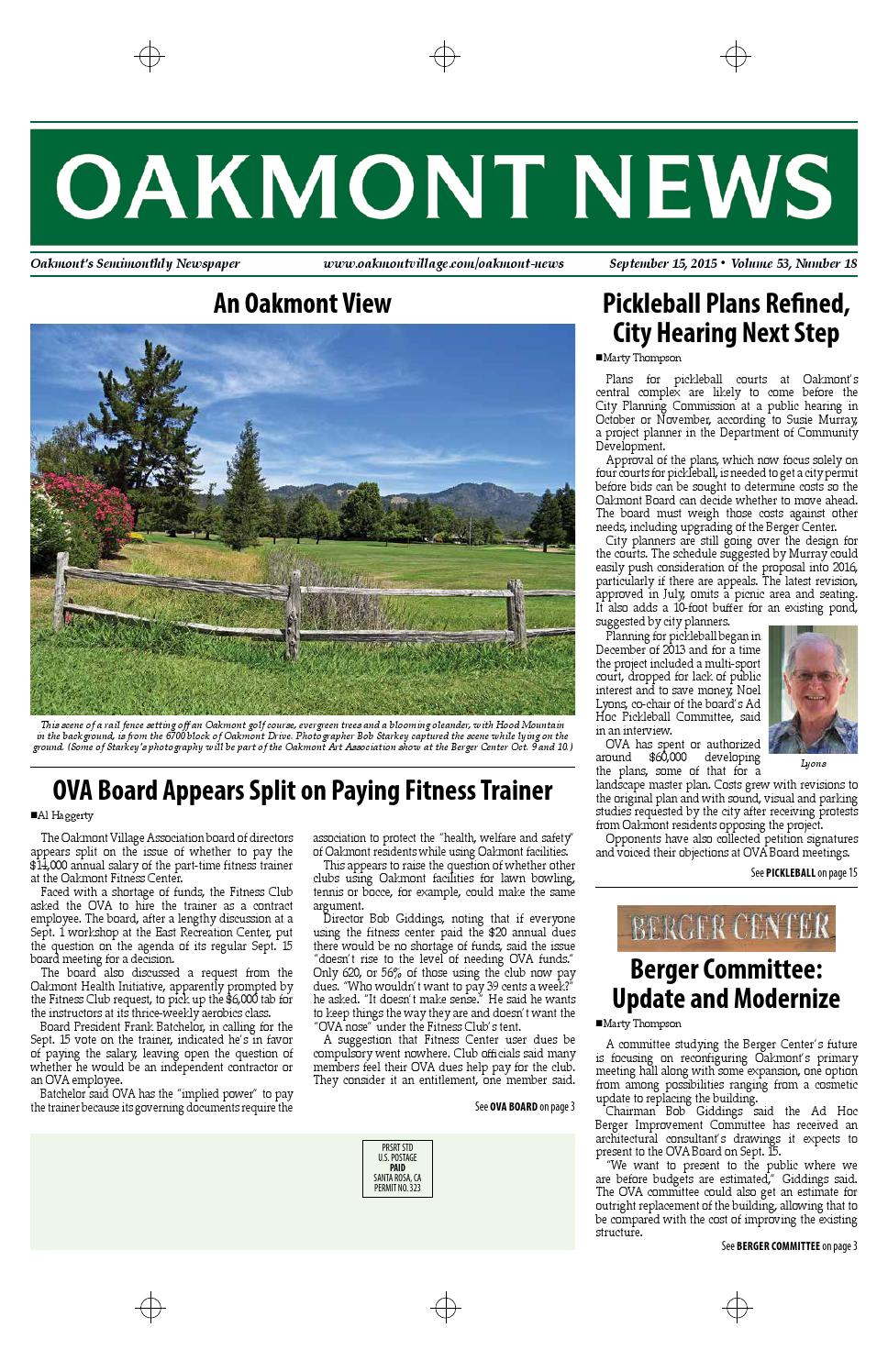 September 15 Edition Of The Oakmont News By Oakmont