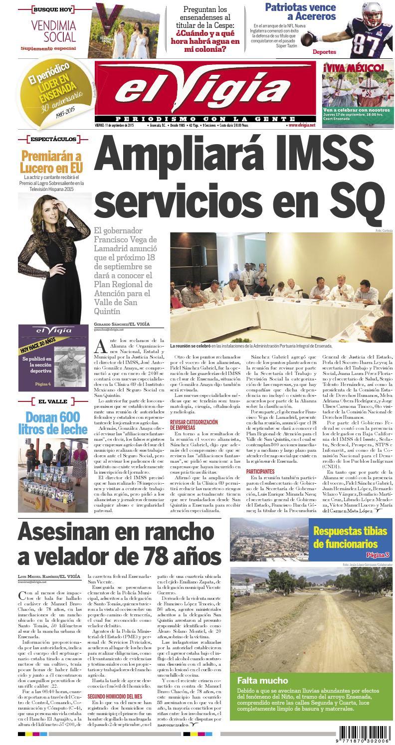 Peri Dico El Vig A 11 De Septiembre De 2015 By Editorial El Vigia  # Muebles Gema Mexicali