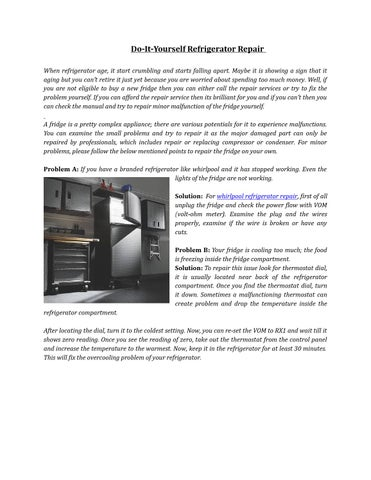 Refrigerator Repair Service by Linda Davis - issuu