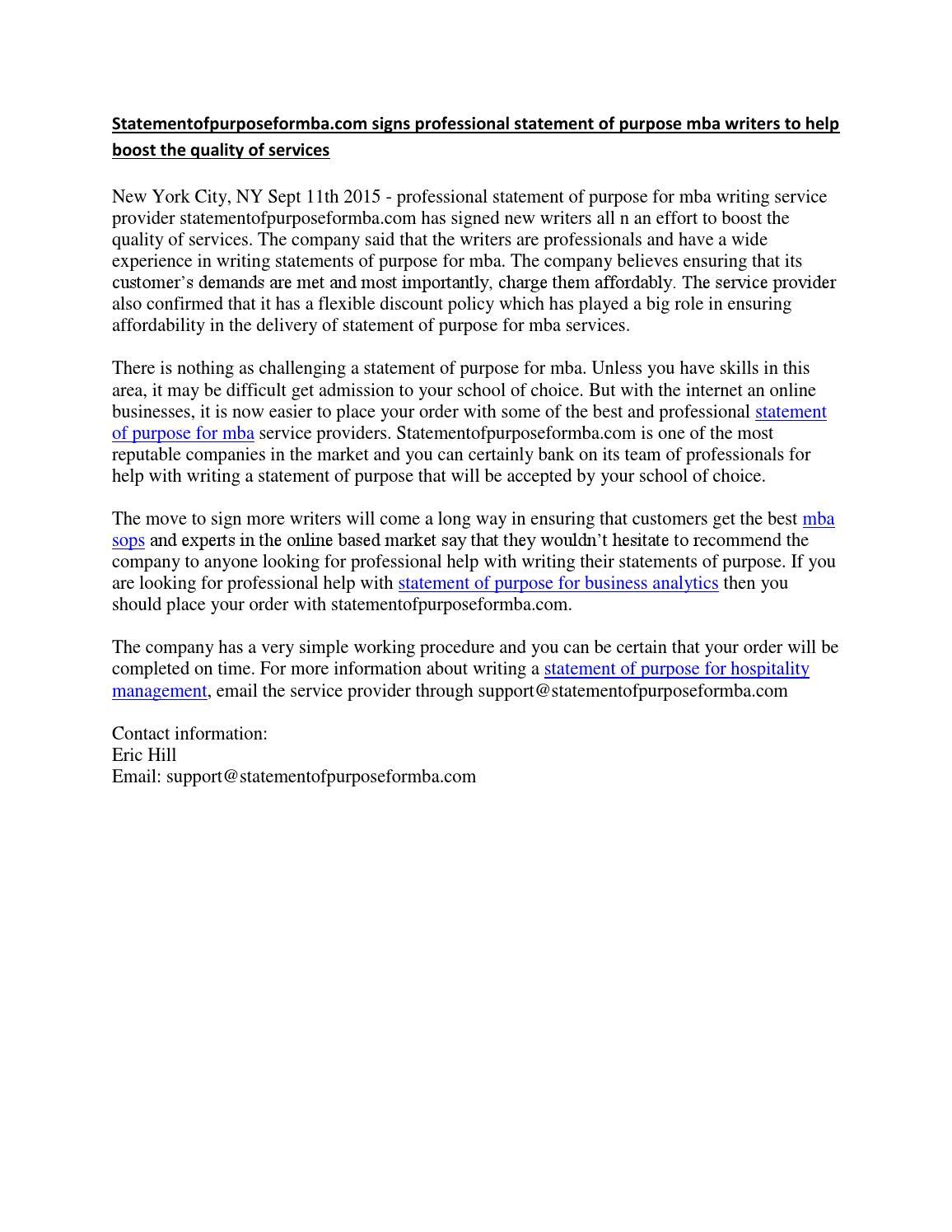 Statement of purpose writing service
