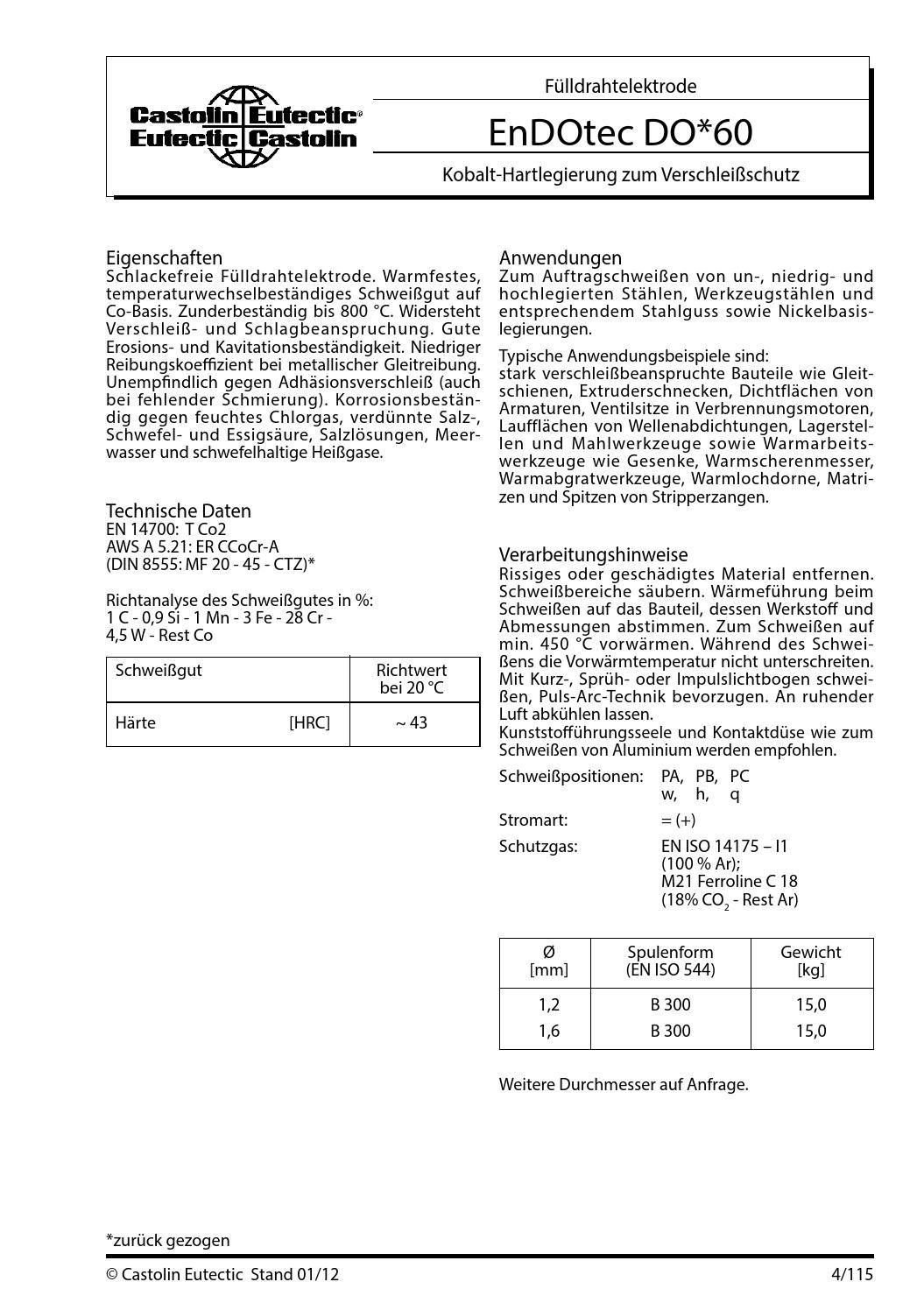 castolin endotec 60 elektroden schweissen zusatzwerkstoffe by castolin eutectic issuu. Black Bedroom Furniture Sets. Home Design Ideas