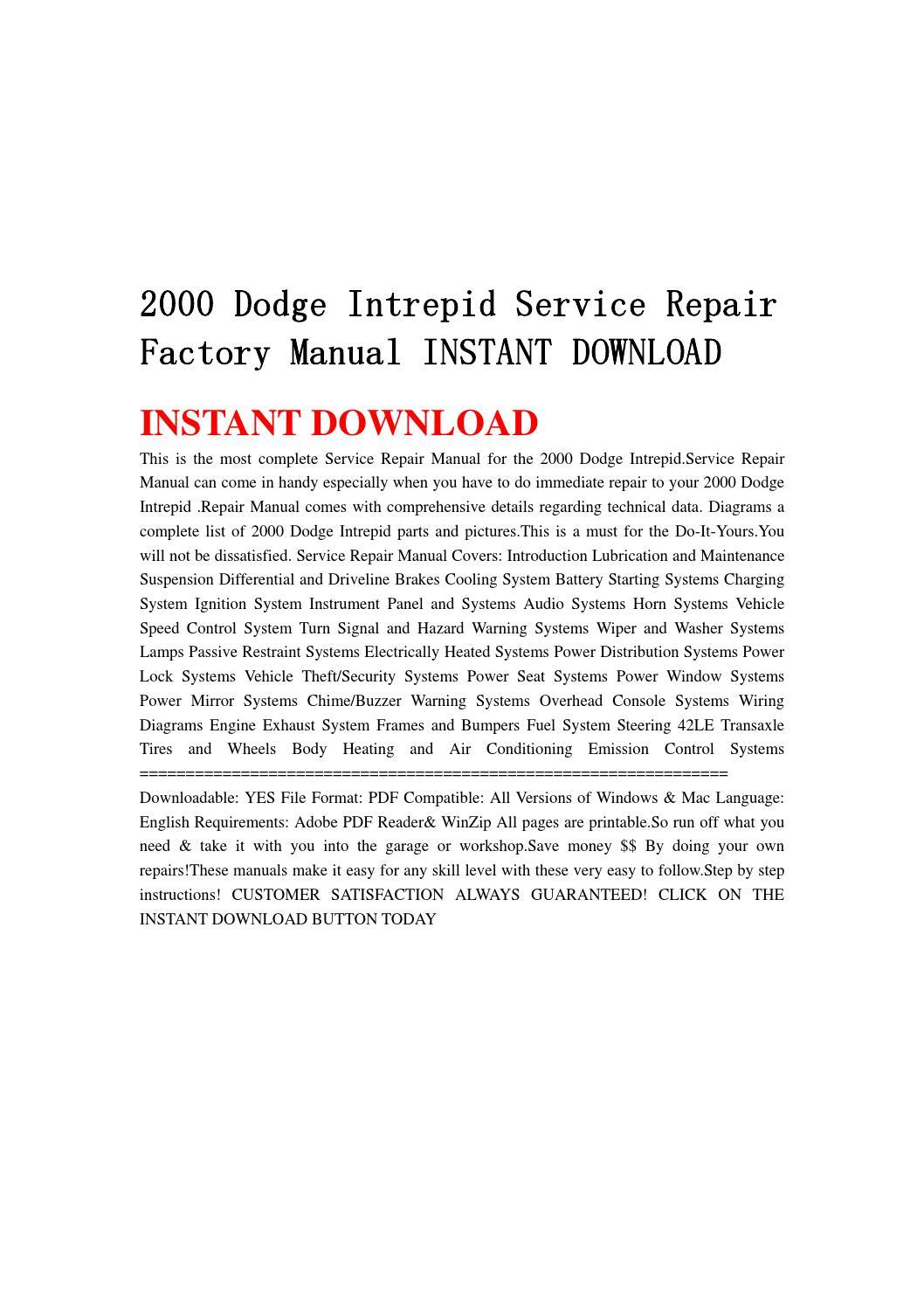 Dodge Intrepid Repair Manuals