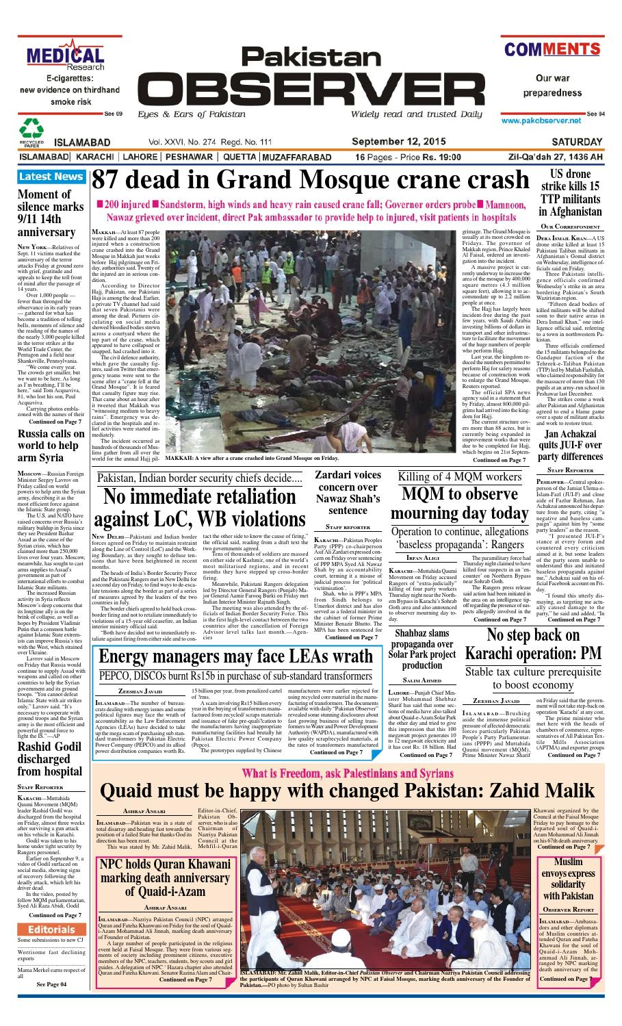 Ep12sept2015 by Pakistan Observer - issuu