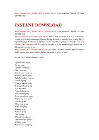 kioti daedong dk35 dk40 dk450l tractor service parts catalogue manual instant download