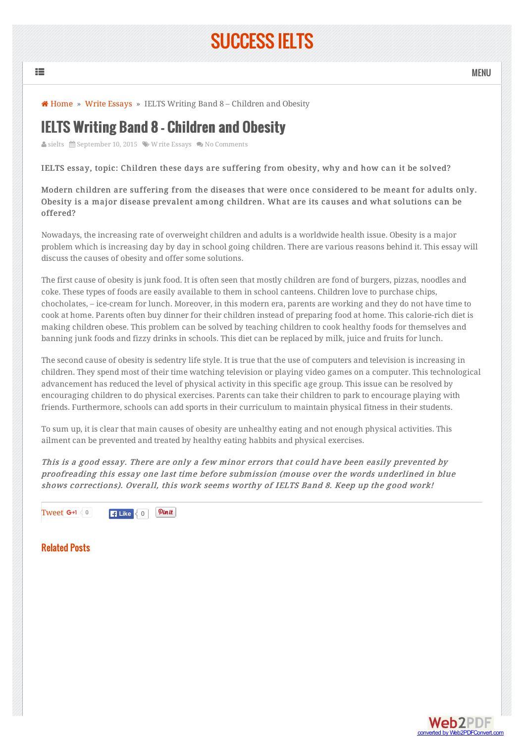 successieltscom ielts essay band    children and obesity by tin  successieltscom ielts essay band    children and obesity