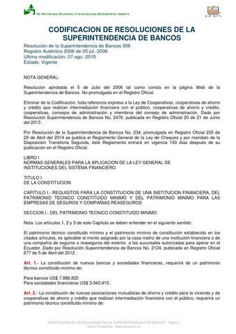 Codificación SBS Libro II by Superintendencia Compañías, Valores y ...
