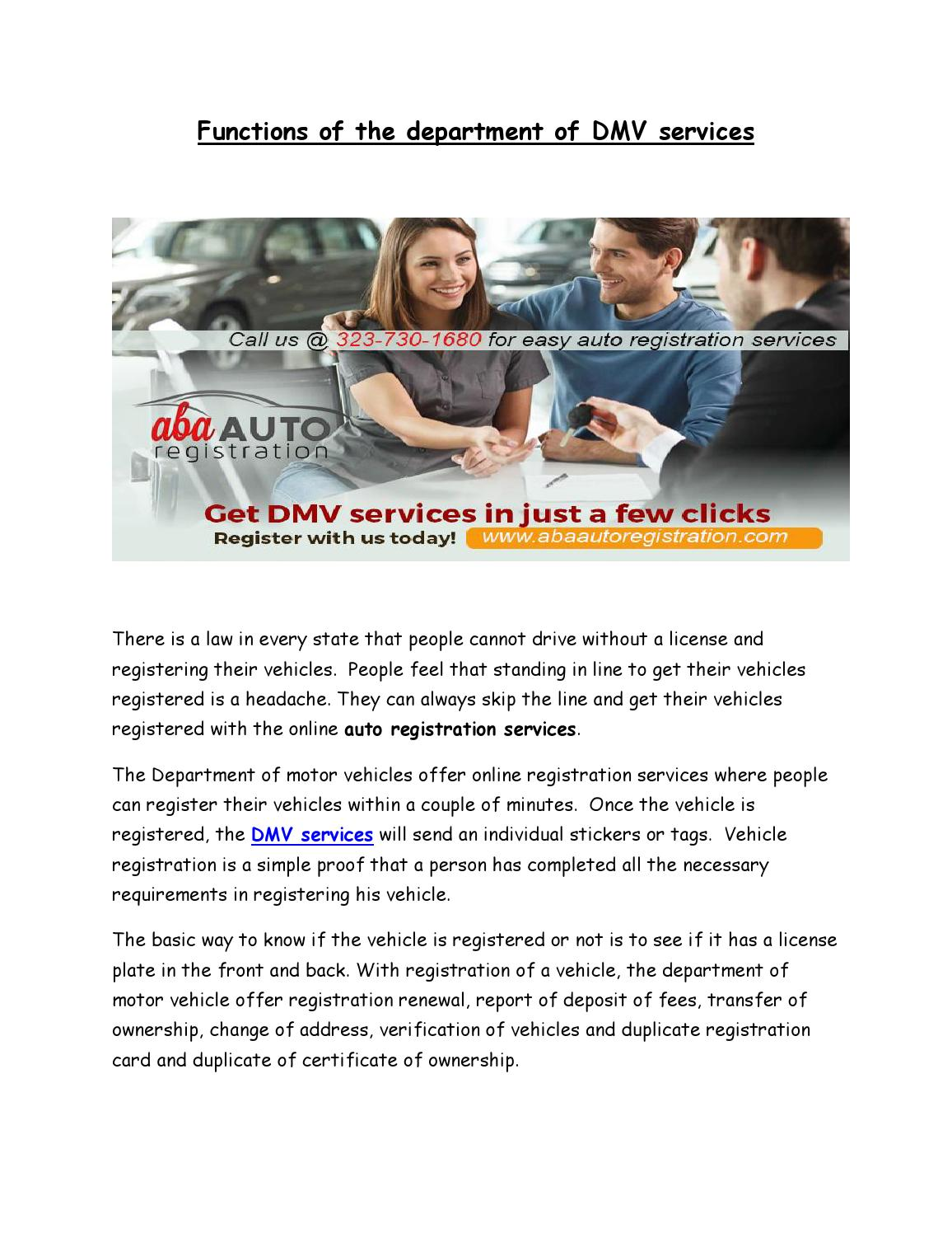 Functions of the department of DMV services by ABA Auto