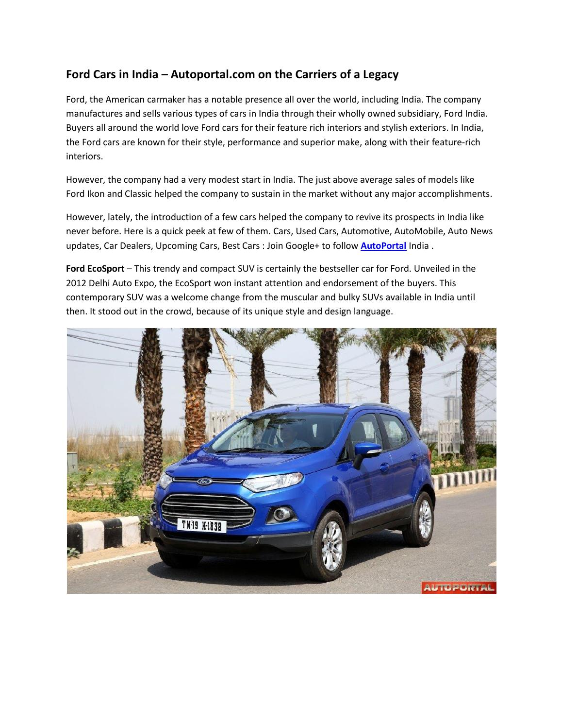 Ford Cars In India Autoportal Com On The Carriers Of A Legacy By