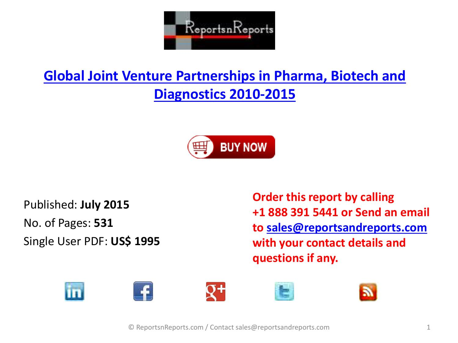 Pharma, Biotech and Diagnostics Market Joint Venture Trends