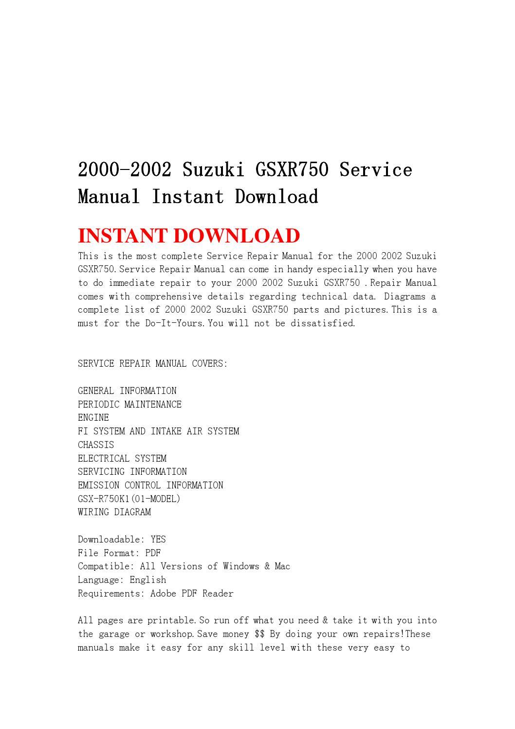 2000 2002 Suzuki Gsxr750 Service Manual Instant Download
