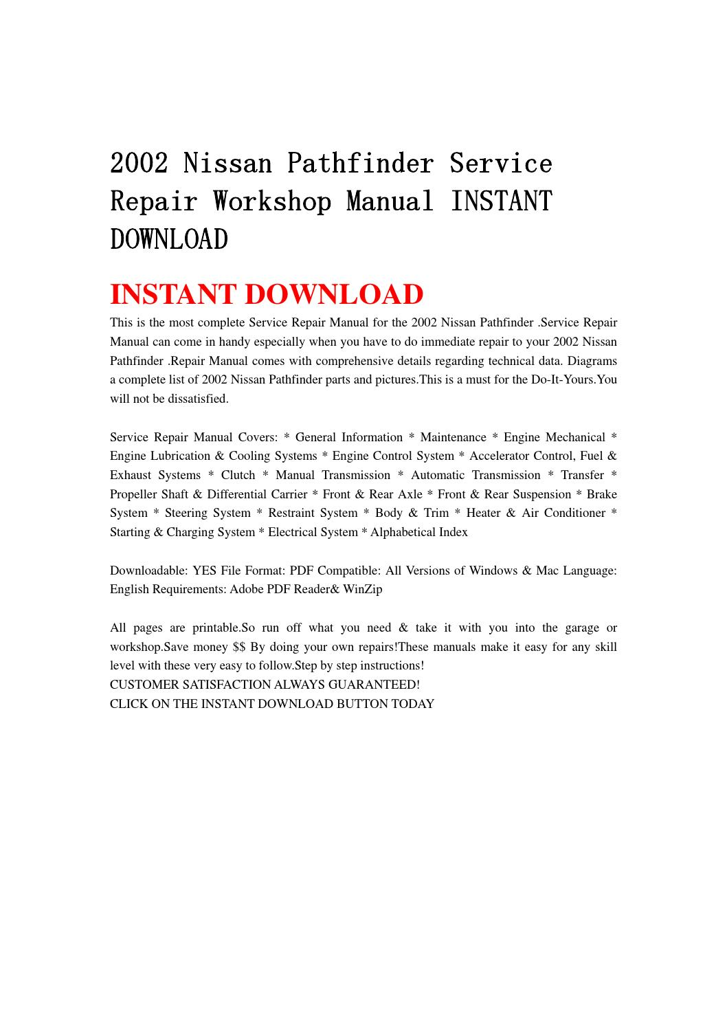 2002 nissan pathfinder service repair workshop manual instant download by  8hsjfnshen - issuu