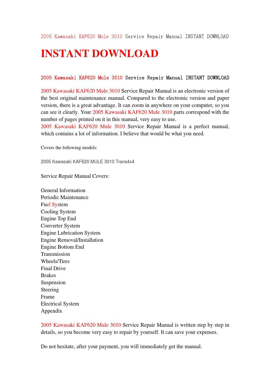 2005 Kawasaki Kaf620 Mule 3010 Service Repair Manual Instant Download By 8hsjfnshen