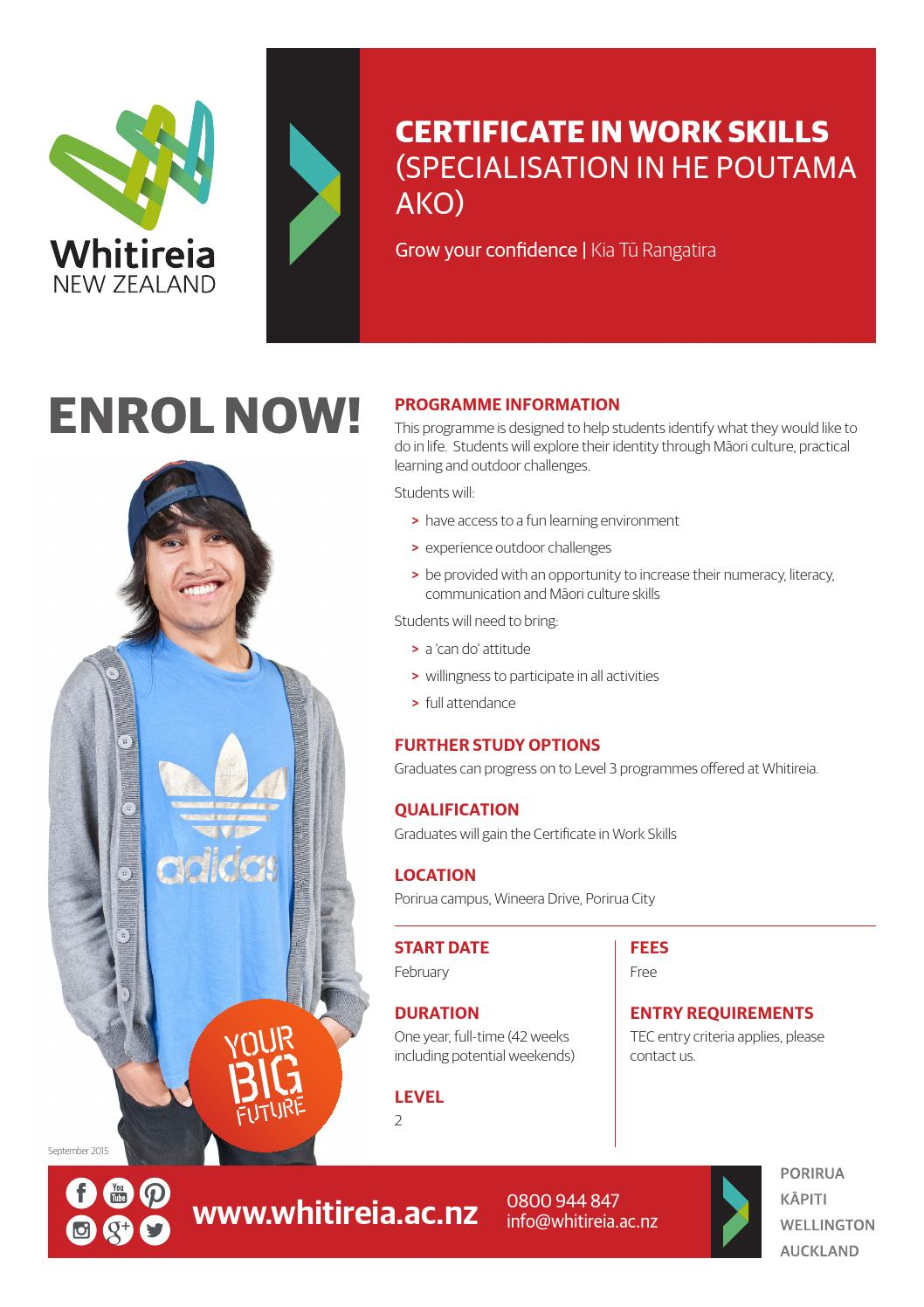 Certificate in work skills he poutama ako by whitireia new certificate in work skills he poutama ako by whitireia new zealand issuu xflitez Image collections