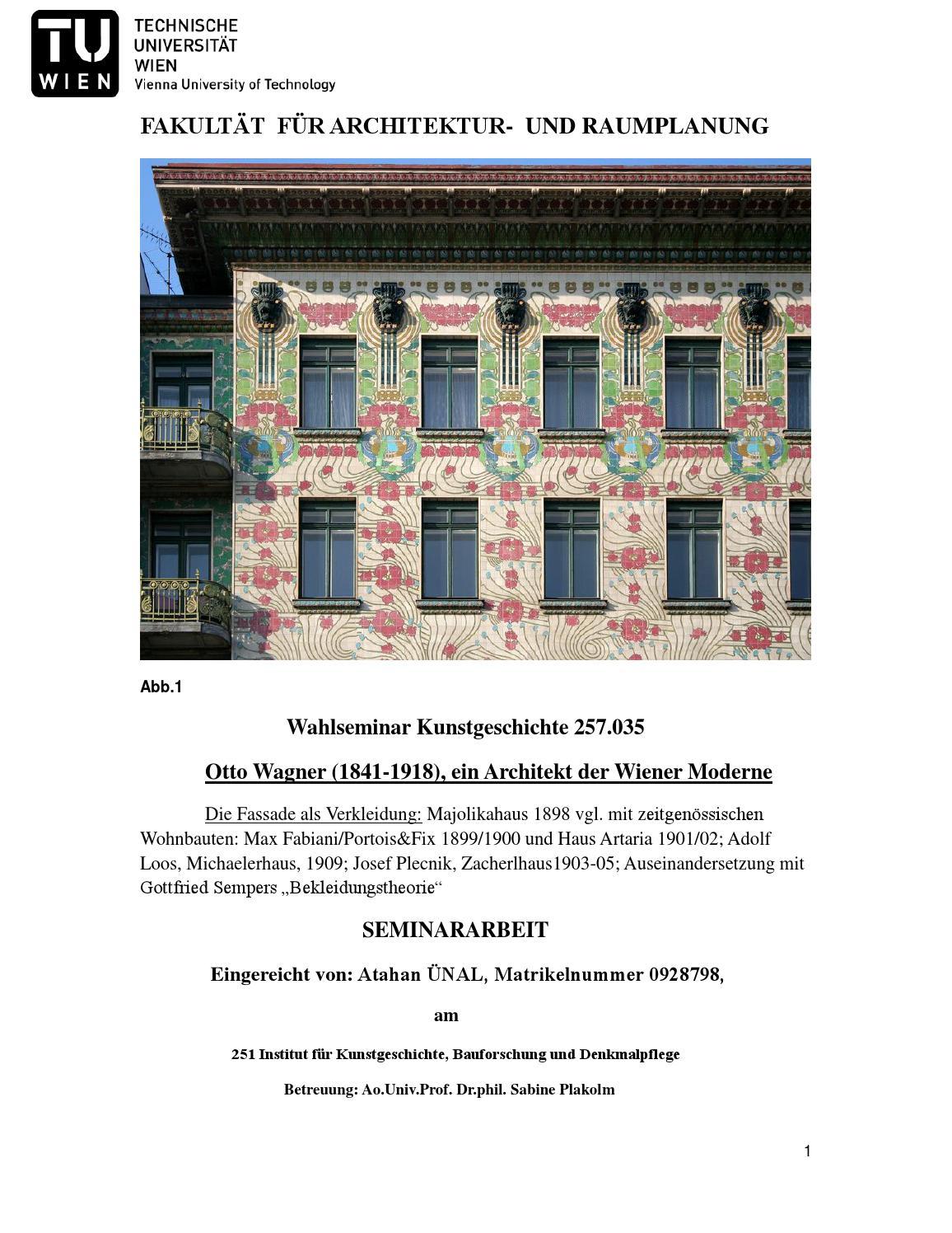 Atahan UNAL/ Seminararbeit / Otto Wagner, Architekt der Wiener ...
