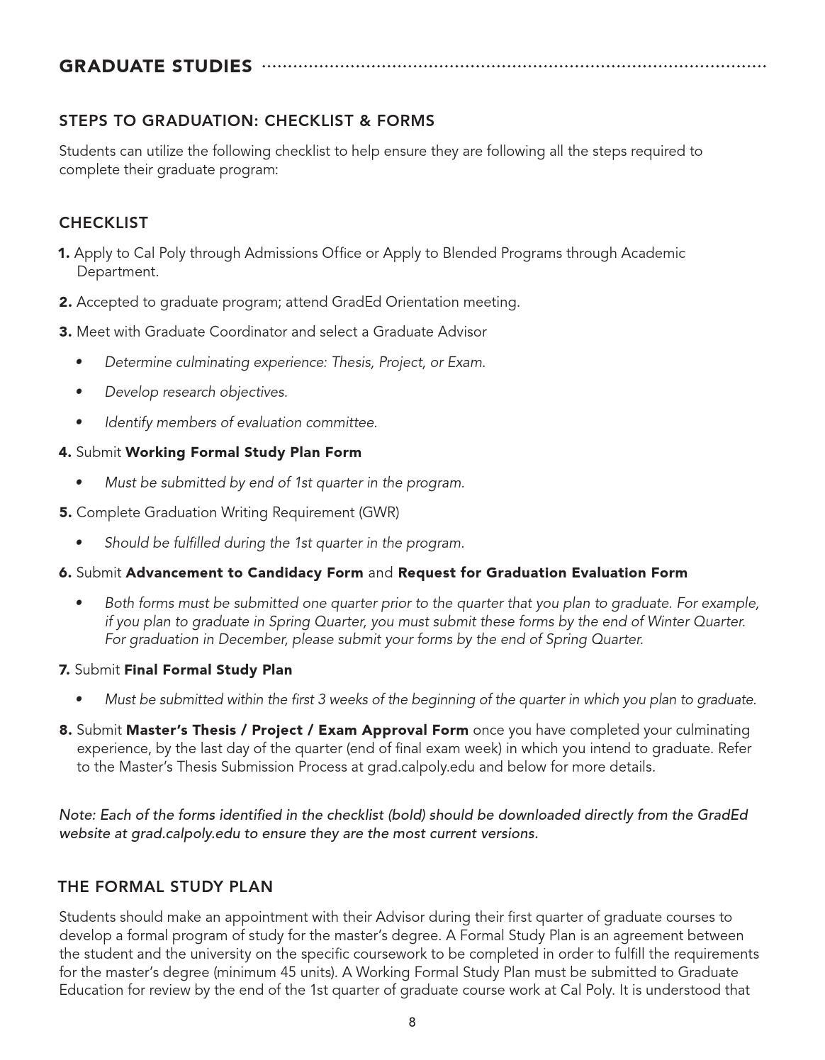 sample study plan for graduate study