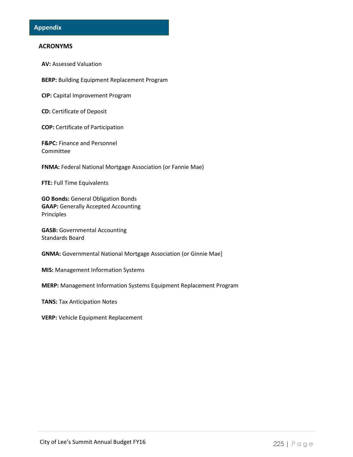 Lees Summit Fy16 Budget By City Of Lees Summit Issuu