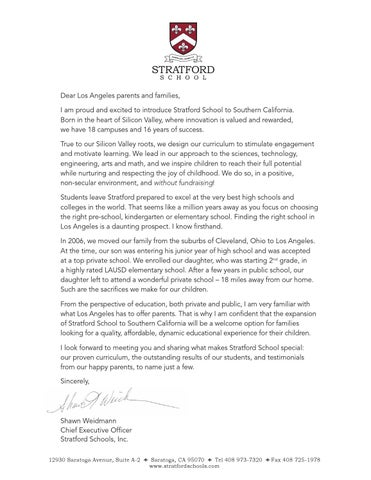 Stratford School s CEO Mr Shawn Weidmann wel e letter to