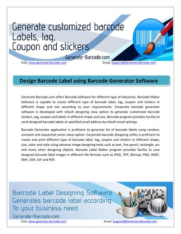 Generate barcode label using linear and 2d font by Priyanka - issuu
