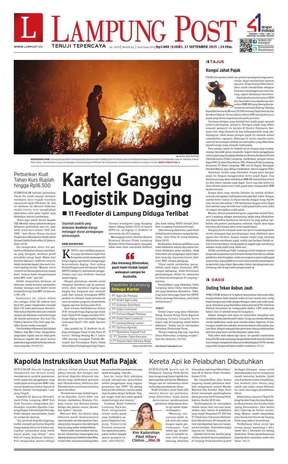 Lampung Post Kamis 17 September 2015 By Issuu Keripik Jagung Panggang Pedasmanis Thun Amr