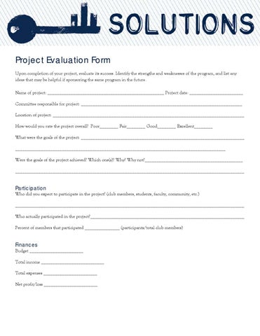 Form Keyclub Project Evaluation Form By Sue Cummins  Issuu