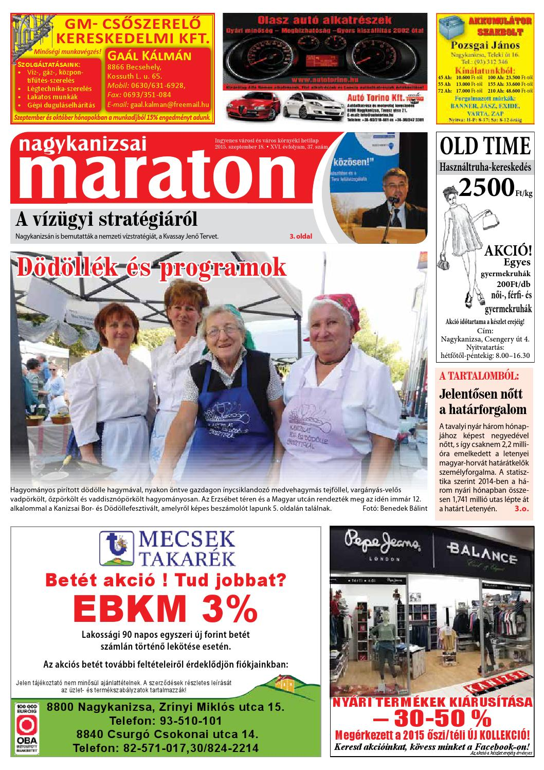 Nagykanizsai Maraton - 2015. 09. 18. by Maraton Lapcsoport Kft. - issuu 77f41d54bb