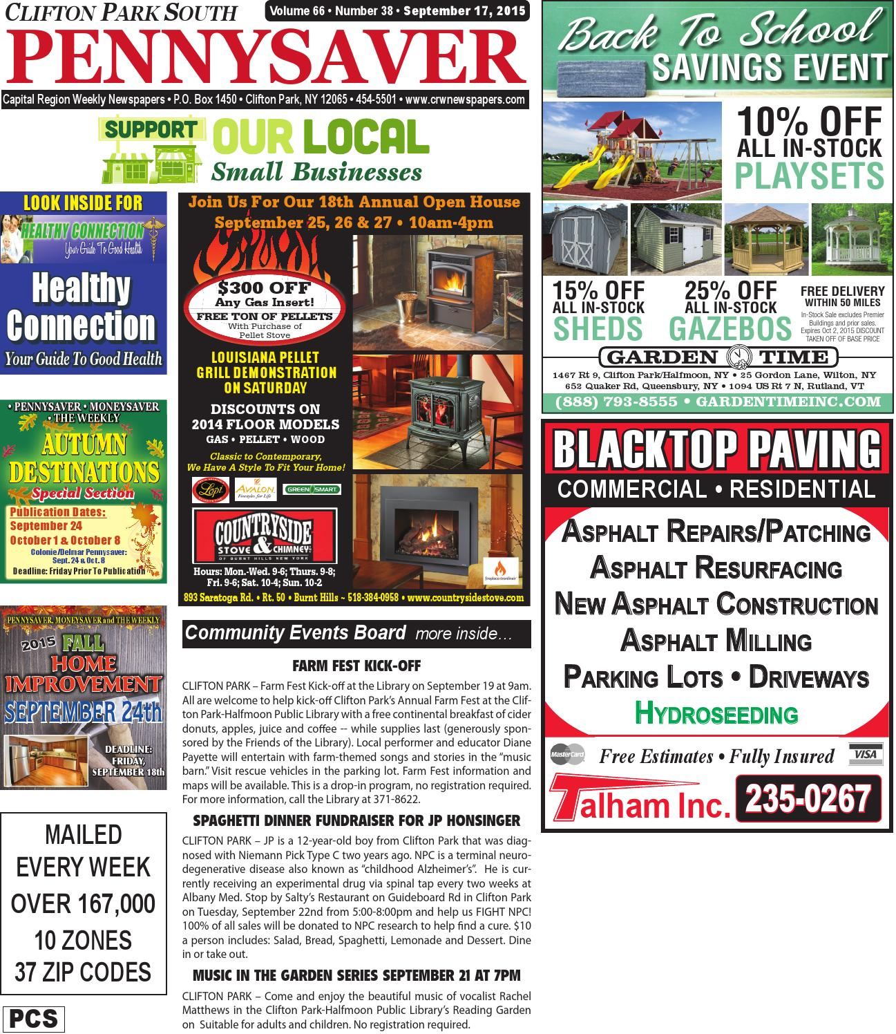 Clifton Park South Pennysaver 091715 by Capital Region Weekly