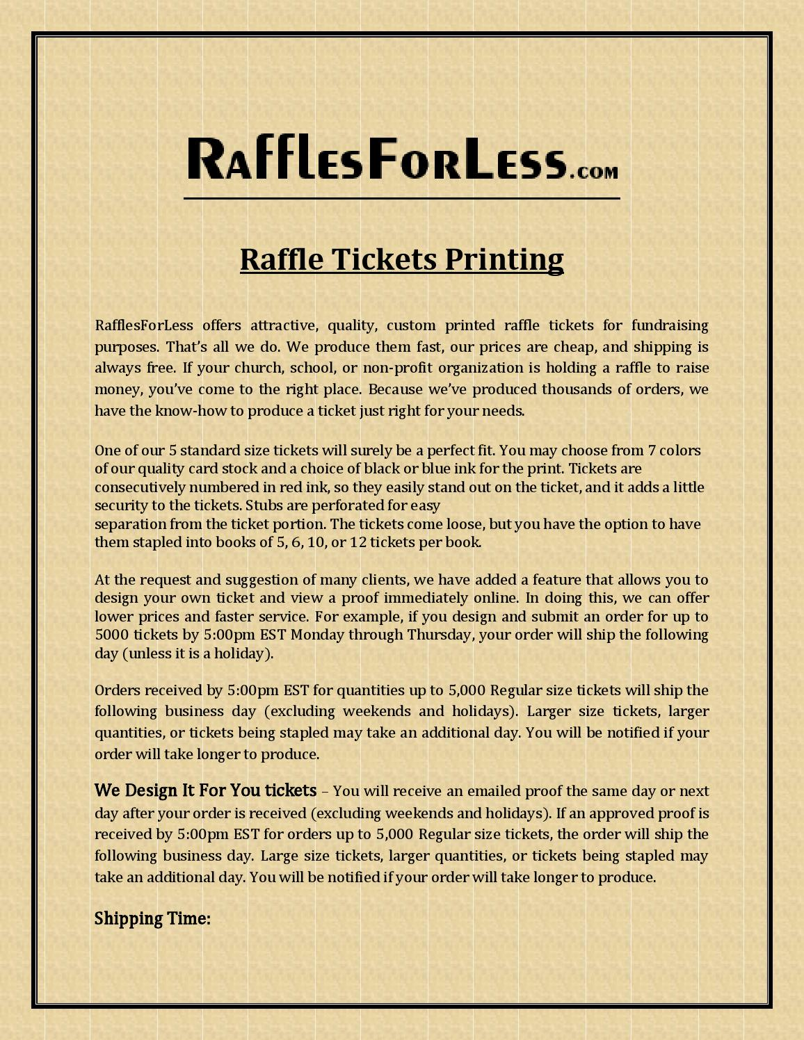 raffle ticket printing by rafflesforless issuu