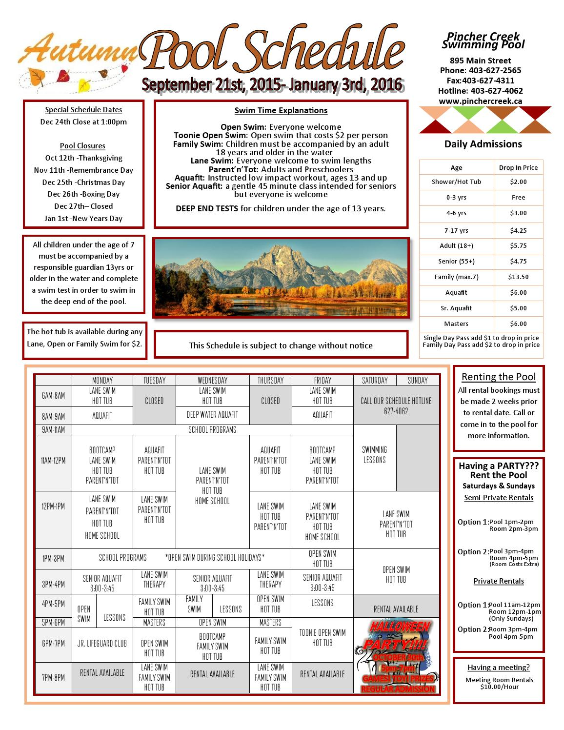 2015 fall flyer by town of pincher creek issuu for Pincher creek swimming pool schedule