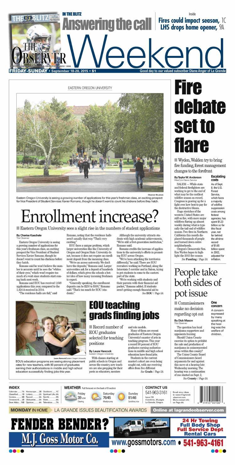 La Grande Observer Daily Paper 09-18-15 by NorthEast Oregon