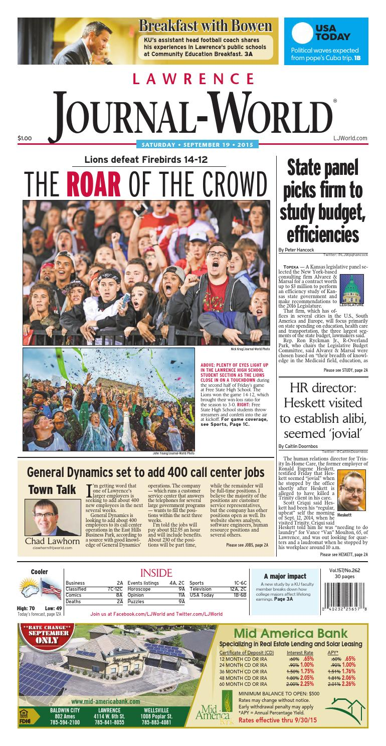 the latest 22af4 d7945 Lawrence Journal-World 09-19-2015 by Lawrence Journal-World - issuu