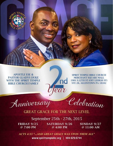 Spirit Temple Bible Churchs 2ndyr Anniversary Brochure By Darrin