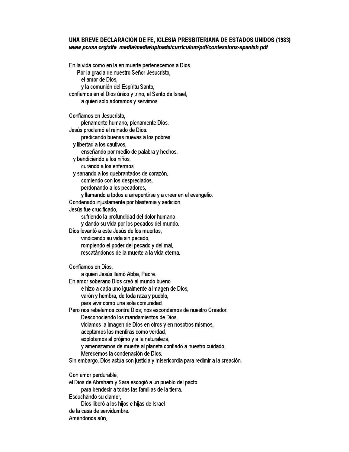 Breve Declaración de Fe, Iglesia Presbiteriana de Estados Unidos by ...