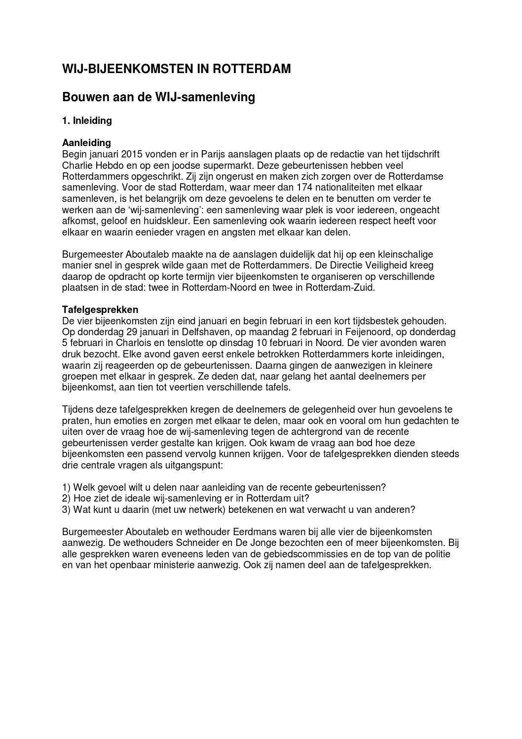 Publieksversie wijkavonden by diy issuu for Rotterdammers voor elkaar