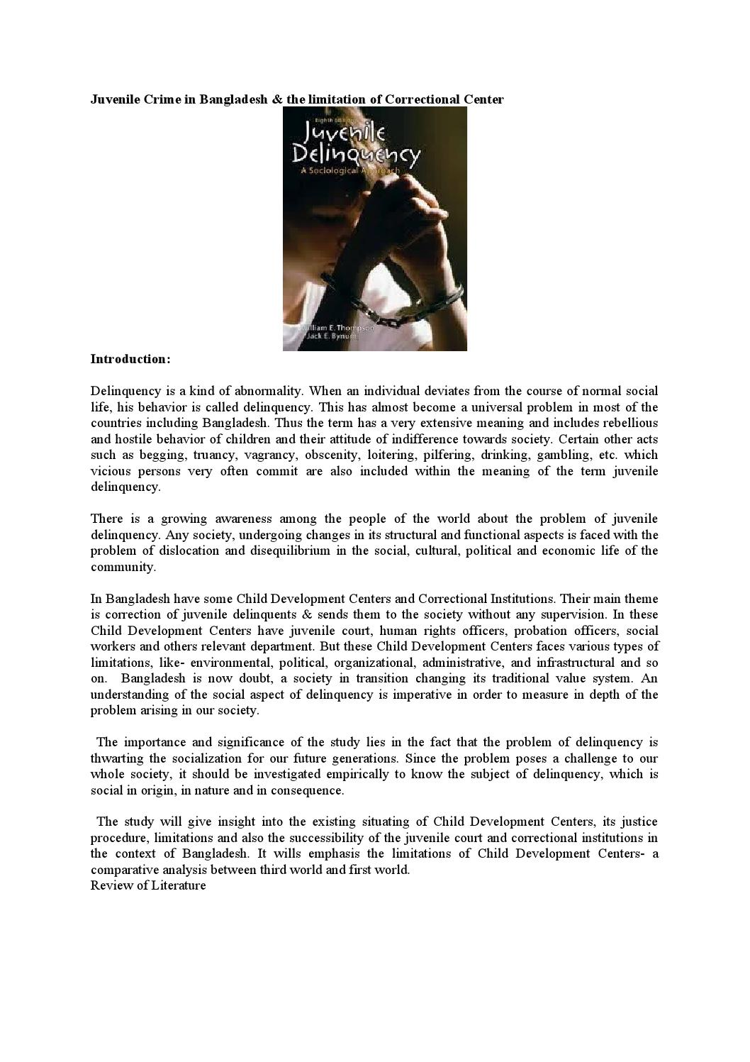 summary of literature review on juvenile delinquency Research proposal and lit review i the problem and setting the statement of the problem and subproblem juvenile delinquency is a persistent and pervasive social problem in america juvenile crime represents over 40% of the total arrests for major crimes, including murder, rape, and burglary (hawkins and weis 1985.