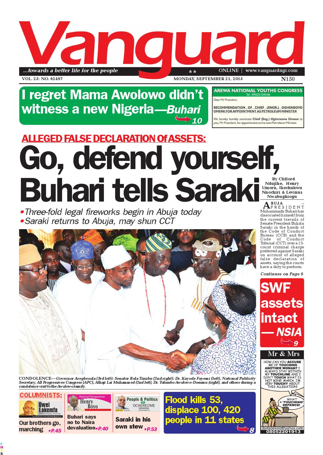 Go, defend yourself, Buhari tells Saraki