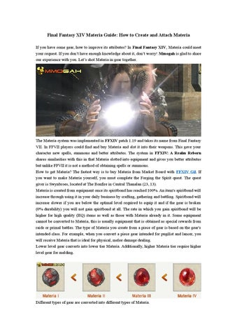 Final Fantasy XIV Materia Guide: How to Create and Attach