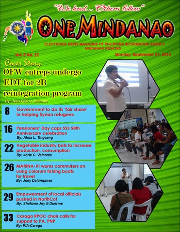 One Mindanao - September 21, 2015 by PIA- Mindanao - issuu