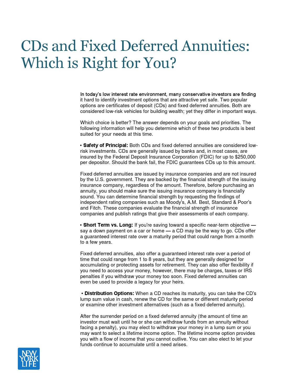 Cds And Fixed Deferred Annuities Which Is Right For You By