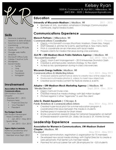 Kelsey Ryan Resume 9/12/15 by Kelsey Ryan - issuu