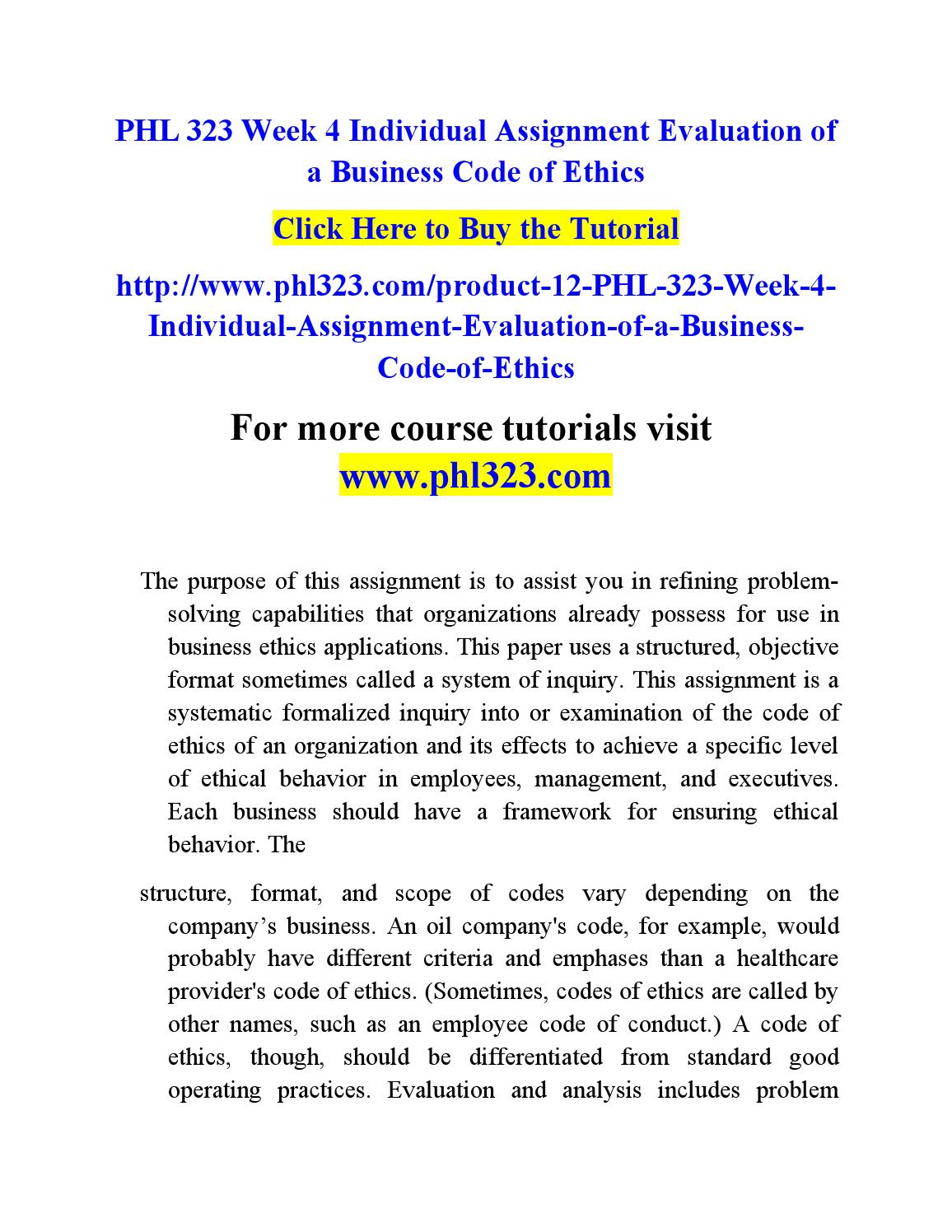 evaluation of a business code of ethics paper phl 323 Free essay: first energy and the business code of ethics phl/323 march 7, 2011 first energy and the business code of ethics first energy prides itself on the.