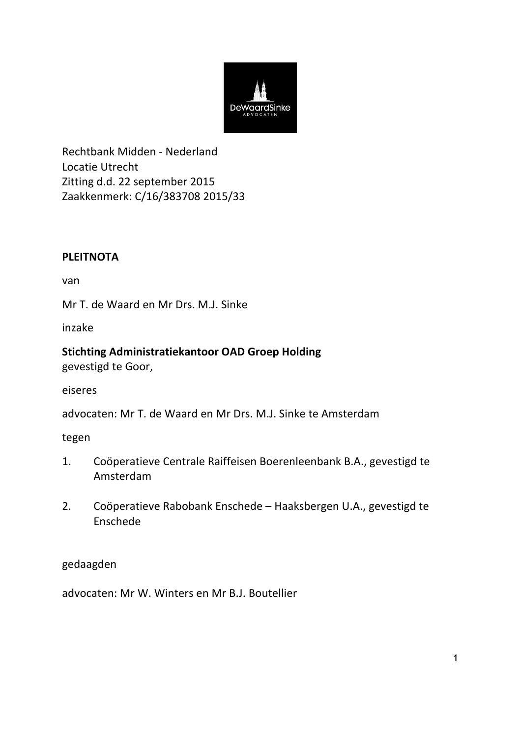 voorbeeldbrief opheffen rekening Pleitnota Oad vs Rabobank, 22 september 2015 by TravelPro   issuu voorbeeldbrief opheffen rekening