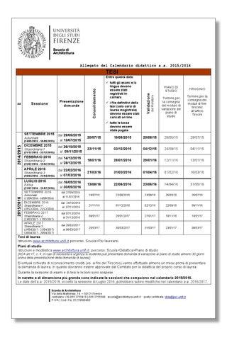Calendario Tesi Unifi Architettura.Scuola Di Architettura Guida Dello Studente 2015 2016 By