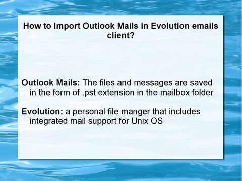 How to import outlook mails in evolution emails client