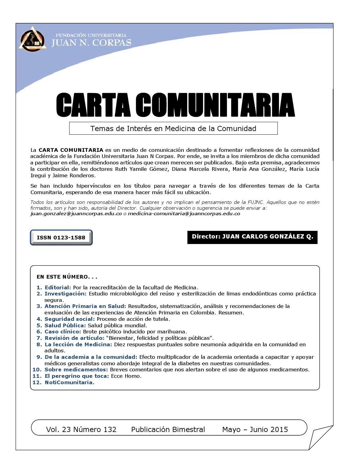 Carta Comunitaria 132 by Fundación Universitaria Juan N. Corpas - issuu