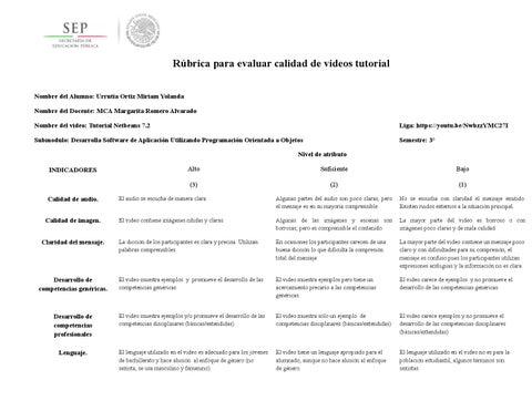 Rubrica evaluar videos tutorial urrutia by Yolanda Urrutia