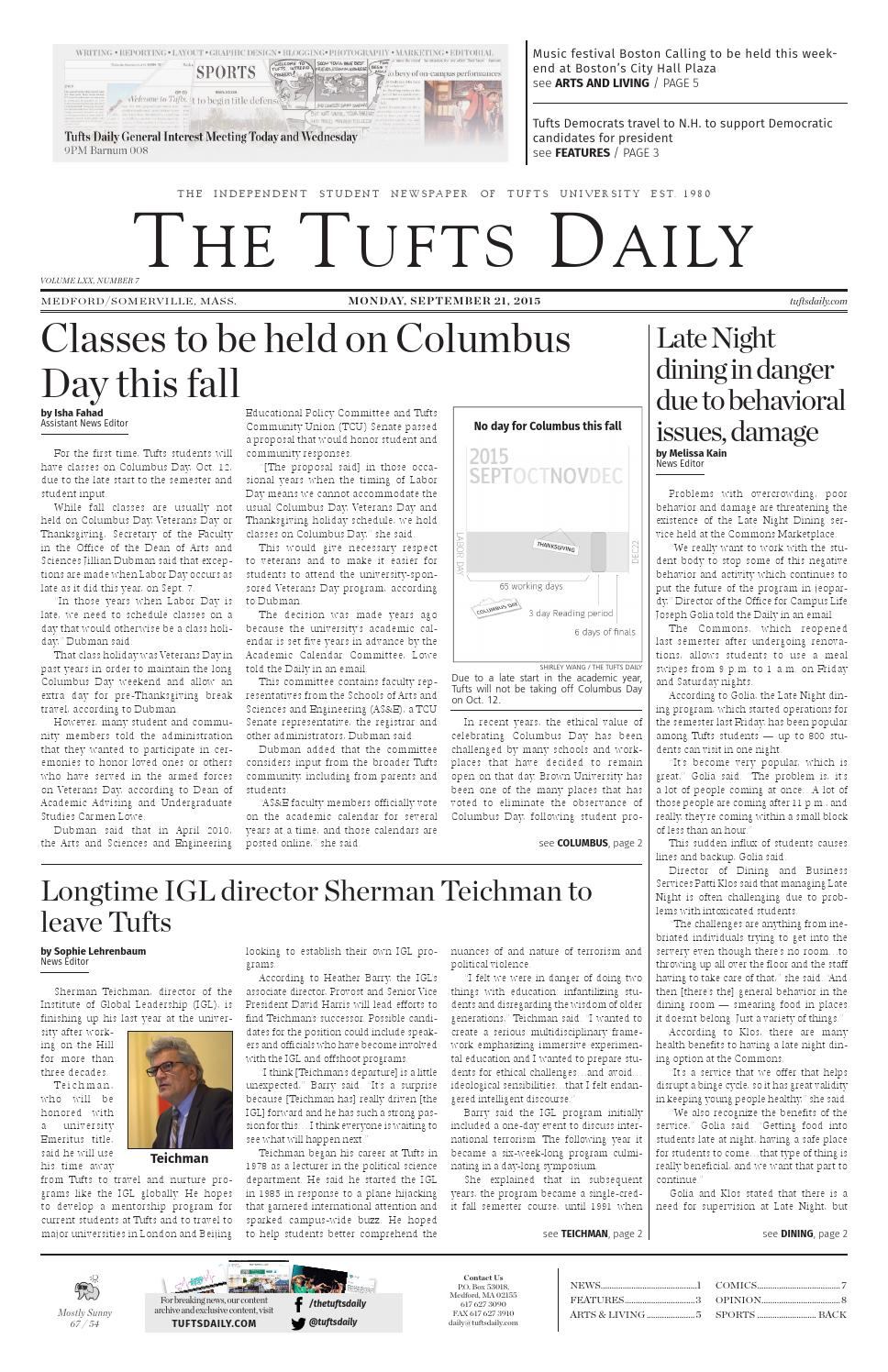 9 21 15 by Tufts Daily - issuu