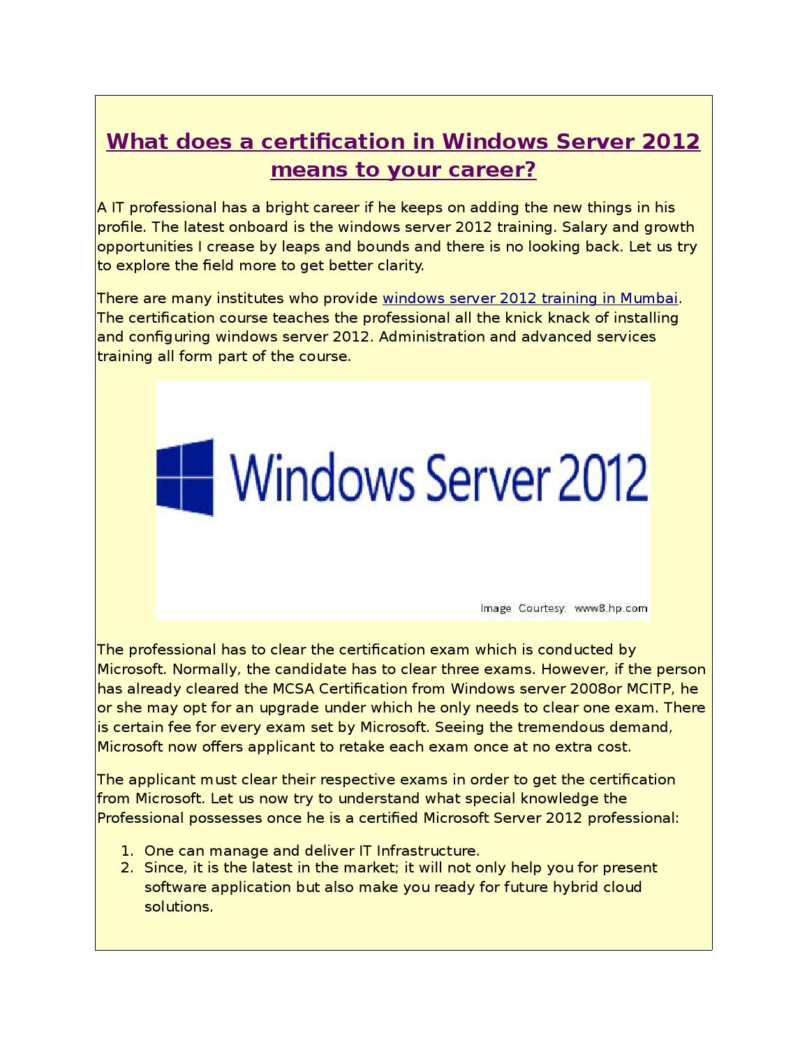 What Does A Certification In Windows Server 2012 Means To Your