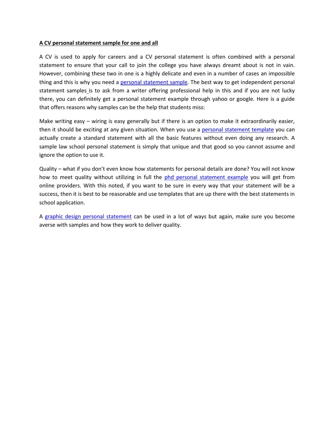 A Cv Personal Statement Sample For One And All By Adam Randolph Issuu