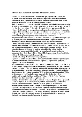 La Estructura De La Constitucion De La Republica Bolivariana