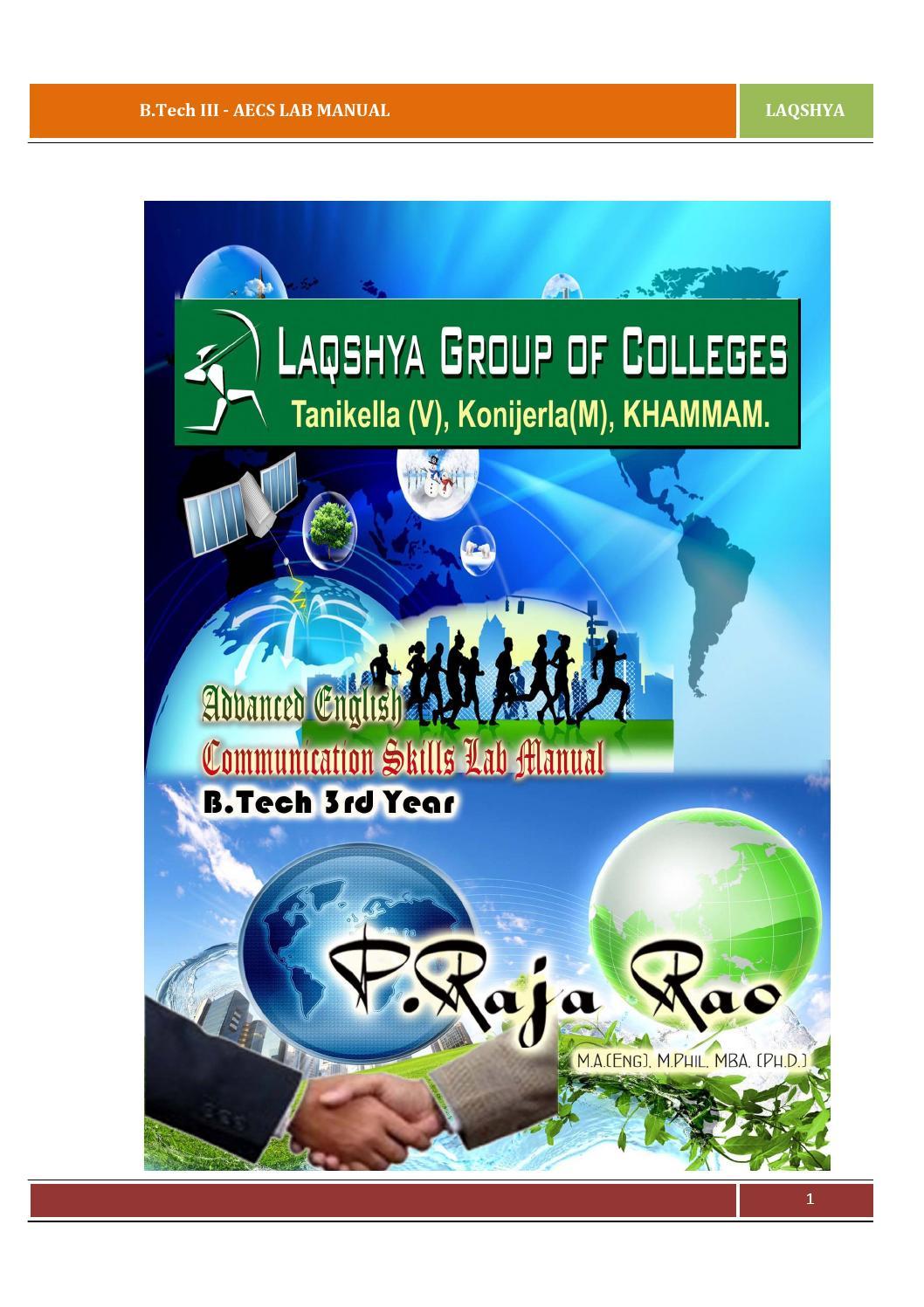 ADVANCED ENGLISH COMMUNICATION SKILLS LAB MANUAL (AECS LAB MANUAL) FOR  B.TECH 3RD YEAR by Raja Ramesh - issuu